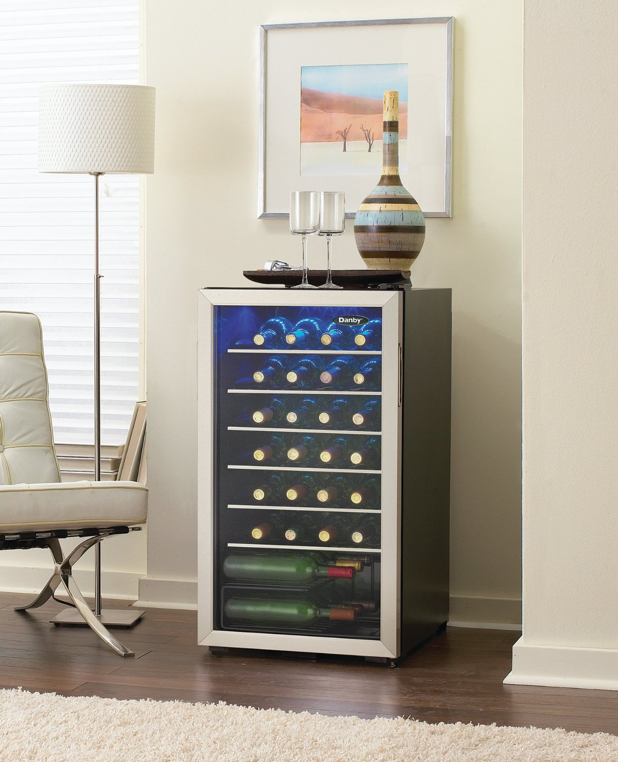 Danby DWC93BLSDB 36 Bottle Freestanding Wine Cooler